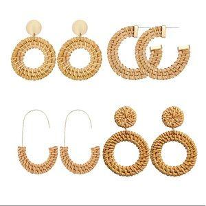 4 pairs of BOHO Handmade Rattan Earrings